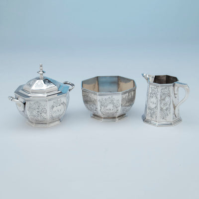 Creamer, sugar and waste to Rich, Obadiah (attr.) 6-piece Antique Coin Silver Coffee and Tea Service, retailed by Lows, Ball & Company, Boston, c. 1840's