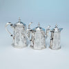 Pots to Rich, Obadiah (attr.) 6-piece Antique Coin Silver Coffee and Tea Service, retailed by Lows, Ball & Company, Boston, c. 1840's