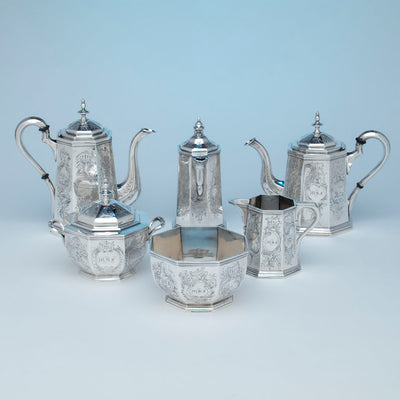 Exceptional Rich, Obadiah (attr.) 6-piece Antique Coin Silver Coffee and Tea Service, retailed by Lows, Ball & Company, Boston, c. 1840's