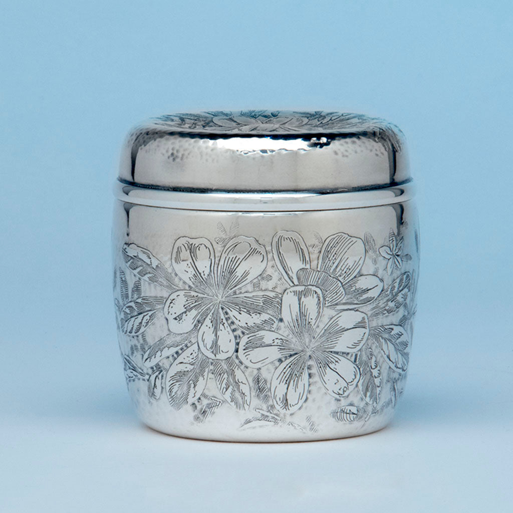 Whiting Antique Sterling Silver Acid-etched Dresser Jar, NYC, c. 1880's