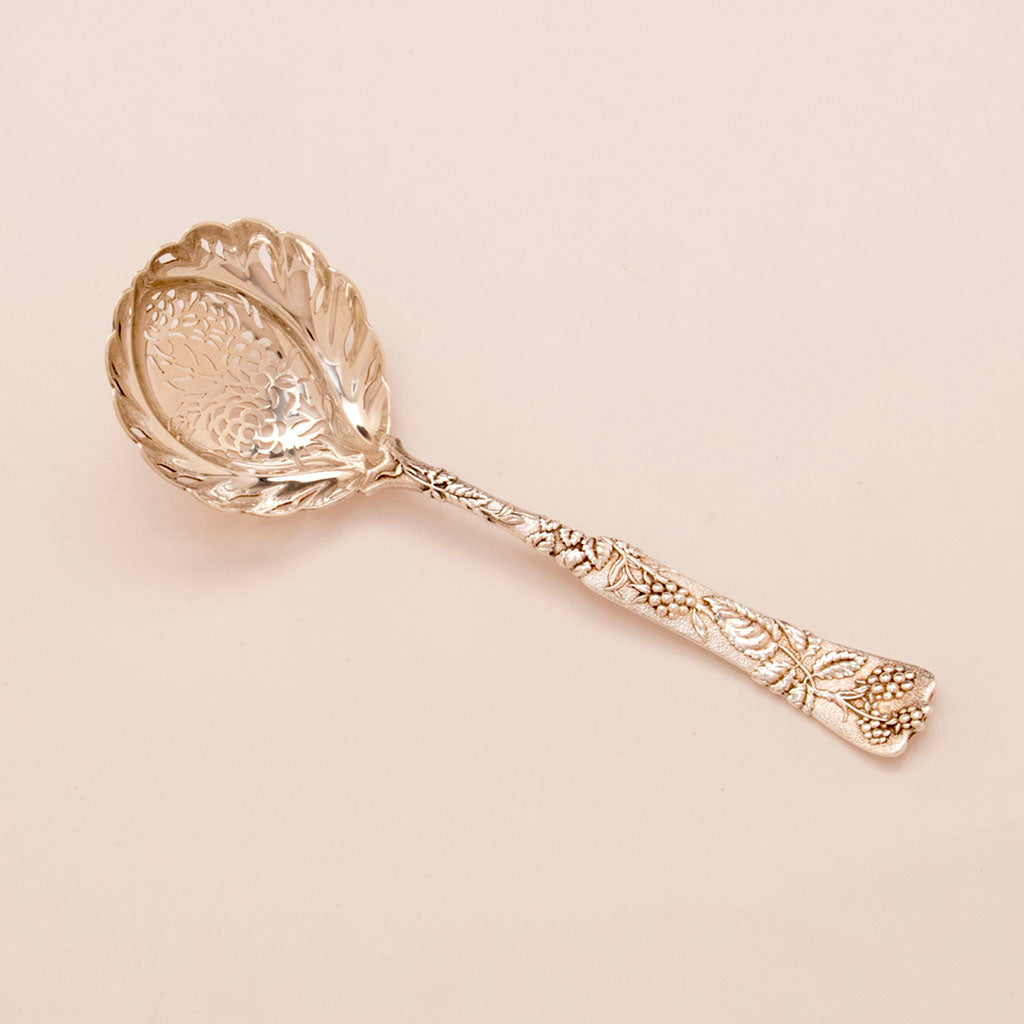 Tiffany and Co Antique Sterling Silver Vine Pattern Sugar sifter, NYC, c. 1880's