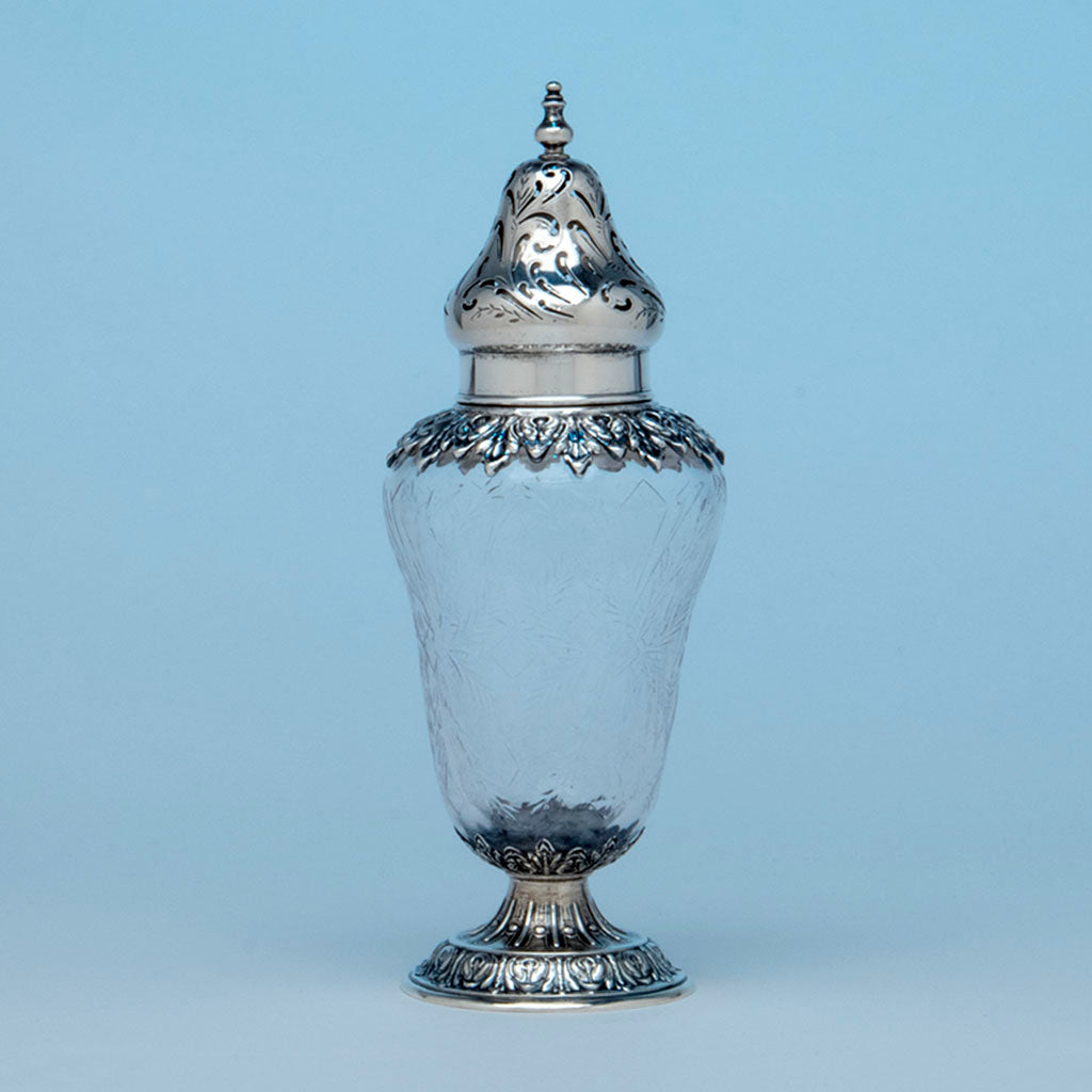 Durgin Antique Sterling and Crystal Muffineer, Concord, NH, c. 1880