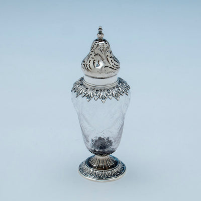 Detail of Durgin Antique Sterling and Crystal Muffineer, Concord, NH, c. 1880