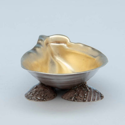 Front of Gorham Antique Sterling Silver Salted Almond Dish with Serving Spoon, Providence, Ri, 1881