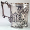 Gorham Coin Silver Child's Cup with Romantic Repoussé Scenery, c. 1857