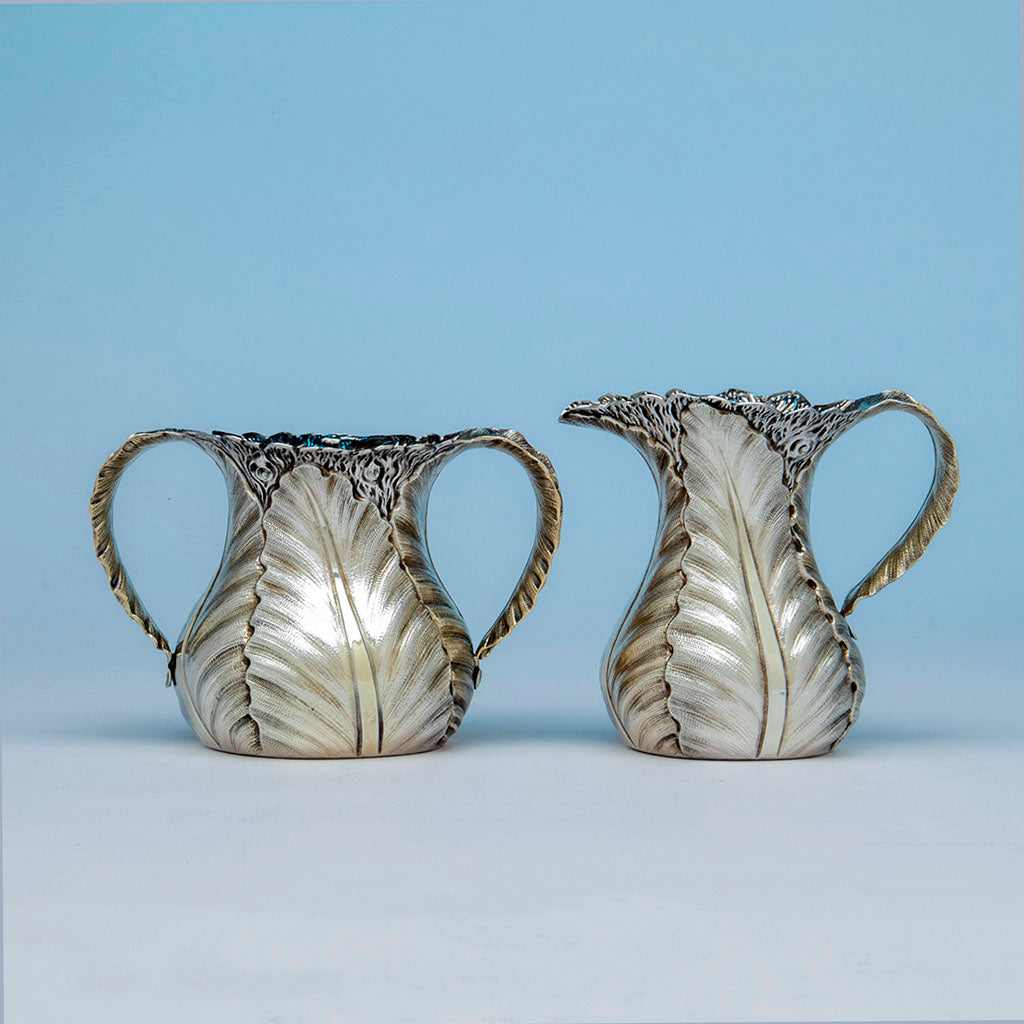 Durgin Antique Sterling Silver Aesthetic Movement Creamer and Sugar, Concord, NH, c. 1880's