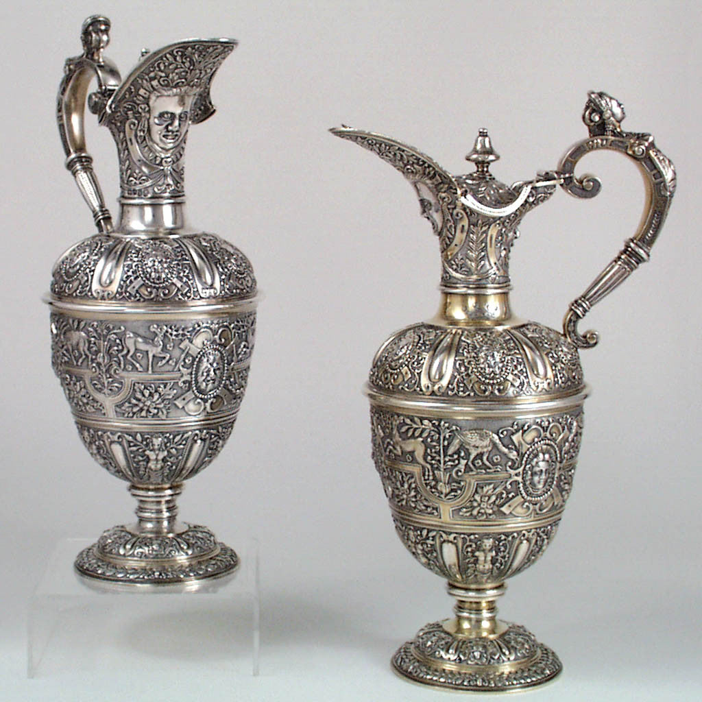 Alfred Ivory Pair of English Sterling Wine Ewers or Claret Jugs, London, c. 1860's