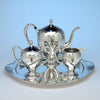 Lebolt Arts & Crafts Sterling Silver & Gold Coffee Service with Tray, Chicago, IL, c. 1920's