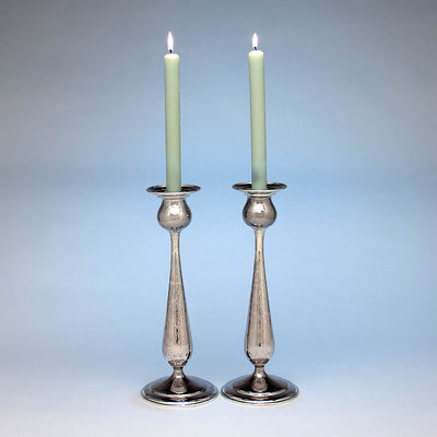 "Pair of Kalo Shop Hand Wrought Sterling Silver Arts & Crafts 12.5"" Tall Candlesticks, Chicago, Illinois - c. 1920's"