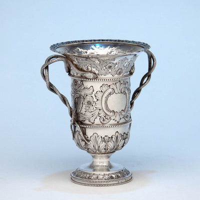 Angle view of Bailey & Co. Antique Sterling Silver Repousse Snake-handled Vase, Philadelphia, PA, c. 1850