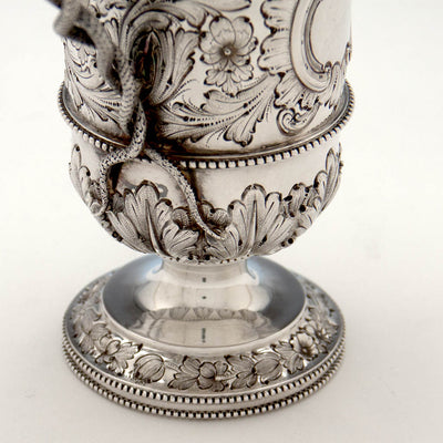Base of Bailey & Co. Antique Sterling Silver Repousse Snake-handled Vase, Philadelphia, PA, c. 1850