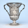 Bailey & Co. Antique Sterling Silver Repousse Snake-handled Vase, Philadelphia, PA, c. 1850