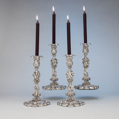 John Watson Set of 4 Regency English Antique Sterling Figural Candlesticks, Sheffield, 1815/16