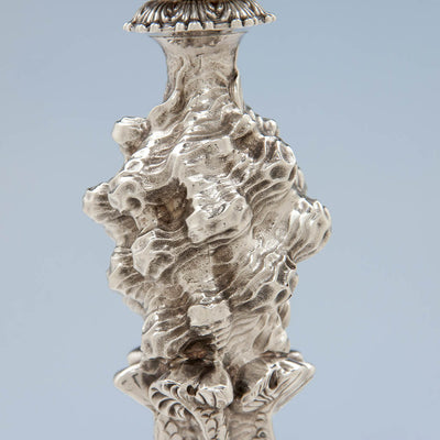 Waves on John Watson Set of 4 Regency English Antique Sterling Figural Candlesticks, Sheffield, 1815/16