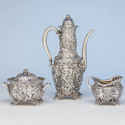 Tiffany & Co Figural Chrysanthemum Antique Sterling Silver Coffee Service Designed by Charles T. Grosjean, NYC, c. 1880-85