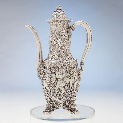 Coffee pot to Tiffany & Co Figural Chrysanthemum Antique Sterling Silver Coffee Service Designed by Charles T. Grosjean, NYC, c. 1880-85