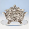 Sugar bowl closeup to Tiffany & Co Figural Chrysanthemum Antique Sterling Silver Coffee Service Designed by Charles T. Grosjean, NYC, c. 1880-85