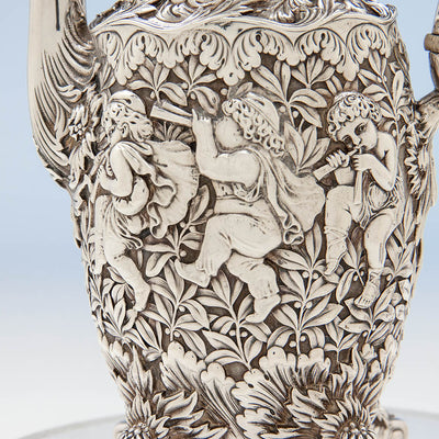 Detail on Tiffany & Co Figural Chrysanthemum Antique Sterling Silver Coffee Service Designed by Charles T. Grosjean, NYC, c. 1880-85