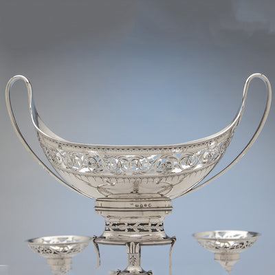 Central basket of Robert Hennell George III Antique Sterling Silver 7-Basket Epergne, London, 1787/88