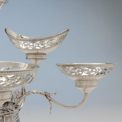 Side Baskets of Robert Hennell George III Antique Sterling Silver 7-Basket Epergne, London, 1787/88