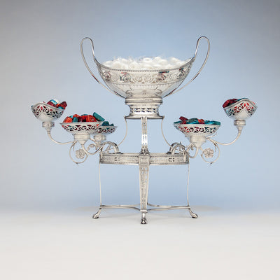 Robert Hennell George III Antique Sterling Silver 7-Basket Epergne, London, 1787/88 with candies