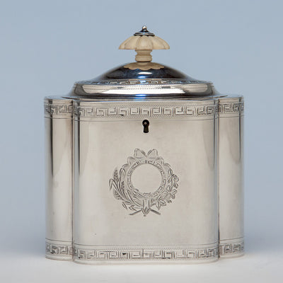 Tea Caddy to Robert & David Hennell, Henry Chawner George III Sterling Coffee and Tea Service, London 1795/96