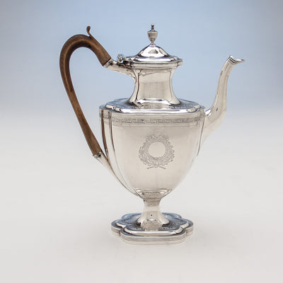 Coffee pot to Robert & David Hennell, Henry Chawner George III Sterling Coffee and Tea Service, London 1795/96