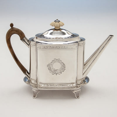 Teapot to Robert & David Hennell, Henry Chawner George III Sterling Coffee and Tea Service, London 1795/96