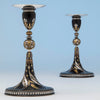 Tiffany & Co. Aesthetic Movement Iron Candlesticks Inlaid with Gold, Silver and Copper, New York City, 1878, Exhibited at the Paris World's Exposition