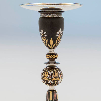 Upper detail of the Tiffany & Co. Aesthetic Movement Iron Candlestick Inlaid with Gold, Silver and Copper