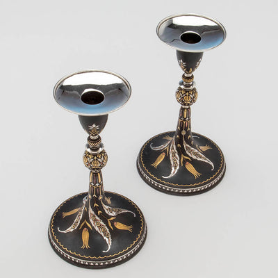 View from above of Tiffany & Co. Aesthetic Movement Iron Candlesticks Inlaid with Gold, Silver and Copper