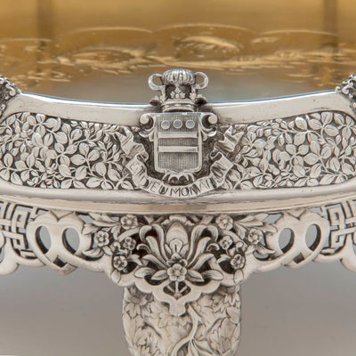 Coat of Arms on the Tiffany & Co. Parcel Gilt Antique Sterling Ice Cream Service from The Mackay Service, NYC, c. 1978,