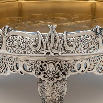 Monogram on the Tiffany & Co. Parcel Gilt Antique Sterling Ice Cream Service from The Mackay Service, NYC, c. 1978,
