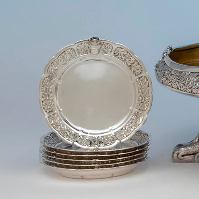 Plate detail of the Tiffany & Co. Parcel Gilt Antique Sterling Ice Cream Service from The Mackay Service, NYC, c. 1978,