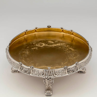 Interior of Tiffany & Co. Parcel Gilt Antique Sterling Ice Cream Service from The Mackay Service, NYC, c. 1978,