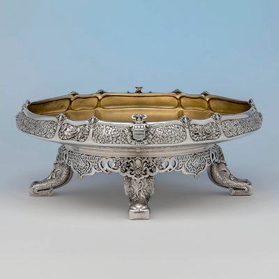 Side with Arms of the Tiffany & Co. Parcel Gilt Antique Sterling Ice Cream Service from The Mackay Service, NYC, c. 1978,