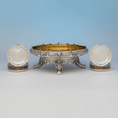 Entire service the Tiffany & Co. Parcel Gilt Antique Sterling Ice Cream Service from The Mackay Service, NYC, c. 1978,