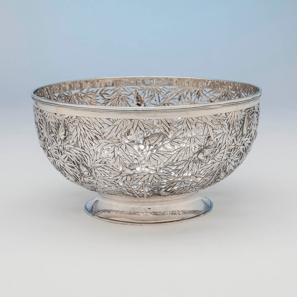 Luen wo antique chinese export silver punch bowl or centerpiece shanghai c 1900