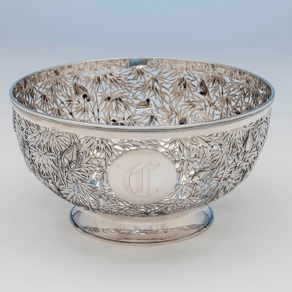 Piercing on luen wo antique chinese export silver punch bowl or centerpiece shanghai c