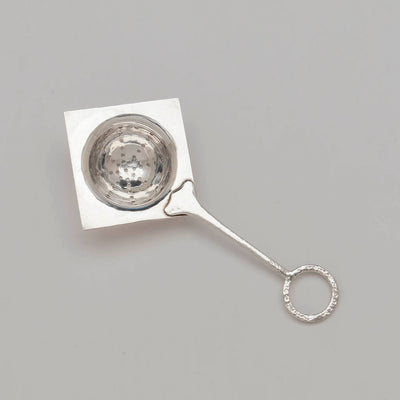 Top view of Franklin Porter Signed Sterling Silver Arts & Crafts Tea Strainer, RI, MA, 1910-24