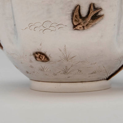 Bird and frog on Gorham Antique Sterling Silver and Other Metals Child's Set, Providence, RI, 1881