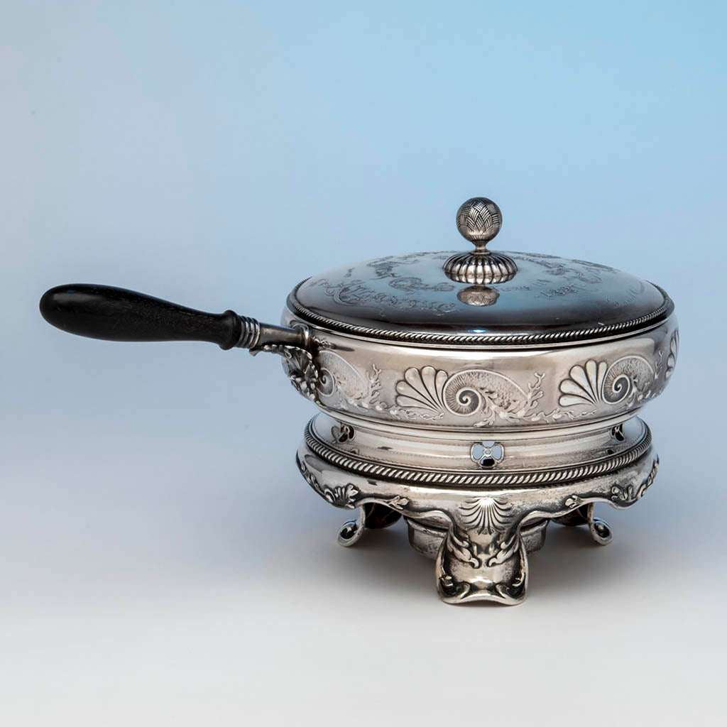 Whiting Nautical Theme Sterling Chafing Dish Corinthian Yacht Club Trophy, NYC, 1887