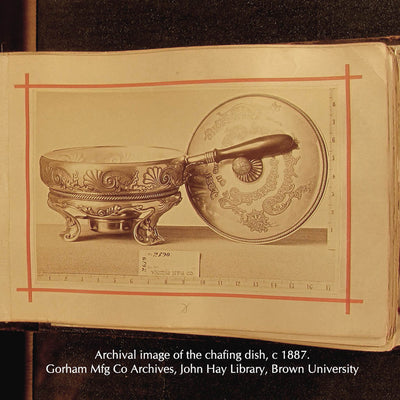 Archival image of the Whiting Nautical Theme Sterling Chafing Dish Corinthian Yacht Club Trophy, NYC, 1887