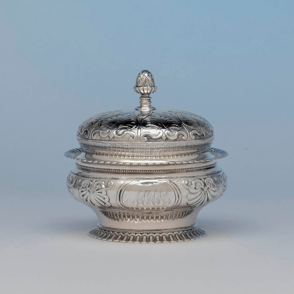 Rogers and Wendt Antique Coin Silver Butter Dish, Boston, MA, c. 1855-60