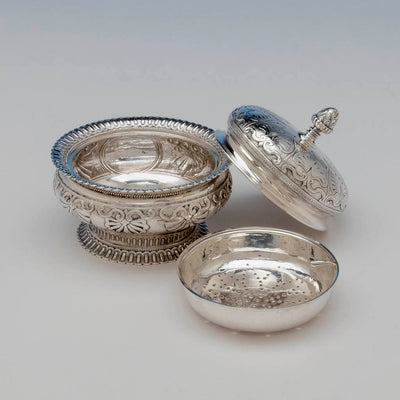 Parts to Rogers and Wendt Antique Coin Silver Butter Dish, Boston, MA, c. 1855-60
