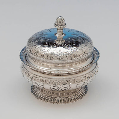 Top of Rogers and Wendt Antique Coin Silver Butter Dish, Boston, MA, c. 1855-60