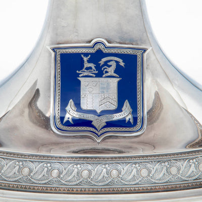 Coat of arms on Whiting Antique Sterling Silver Figural Centerpiece, NYC, c. 1875-80