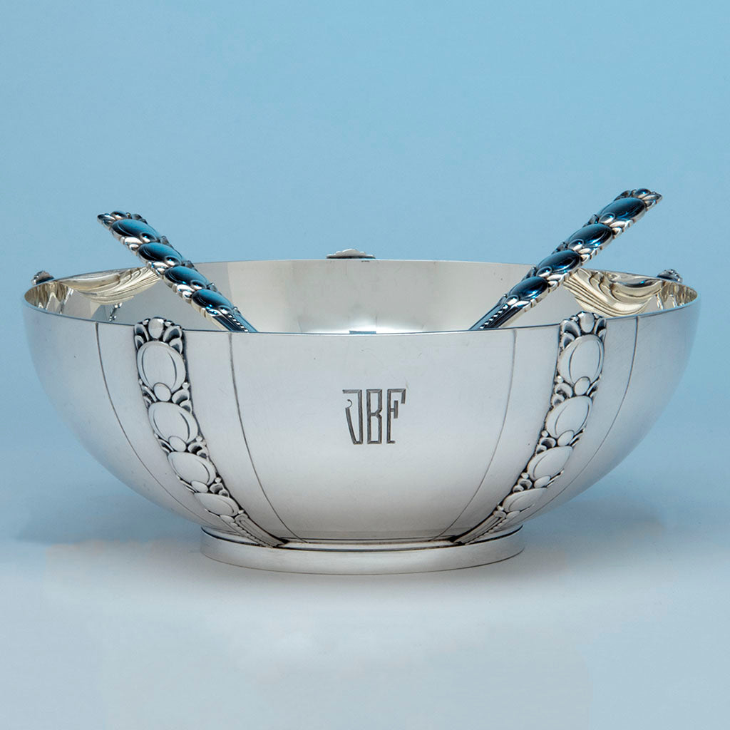 Tiffany Sterling Art Deco Salad Bowl and Servers, Designed for the 1939-40 New York World's Fair, c. 1943