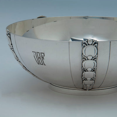 Detail of Tiffany Sterling Art Deco Salad Bowl and Servers, Designed for the 1939-40 New York World's Fair, c. 1943
