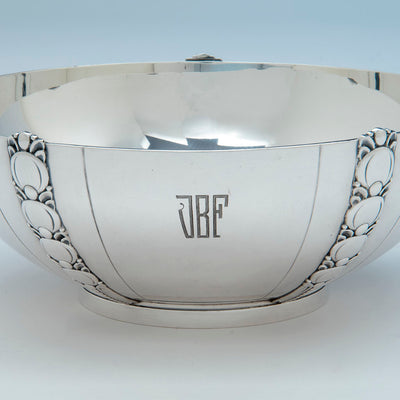 Monogram on Tiffany Sterling Art Deco Salad Bowl and Servers, Designed for the 1939-40 New York World's Fair, c. 1943